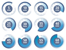 Vector blue set of timers Royalty Free Stock Photo