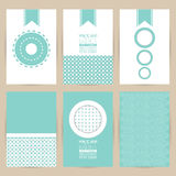 Vector blue set of Vintage pattern background banner  Royalty Free Stock Photos