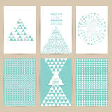 Vector blue set of Vintage pattern background banner retro  Royalty Free Stock Photography