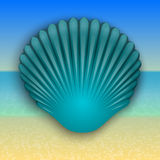 Vector blue shell illustration on the summer sea Stock Photo