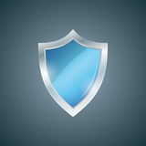 Vector blue shield. Defense icon. Protection concept. Royalty Free Stock Images