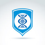 Vector blue shield with DNA molecules spiral, DNA analysis labor. Atory symbol. Genes sign Stock Images