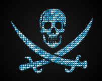 Vector blue skull. Pirate flag. Sequins. Stock Images