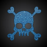 Vector blue skull. Pirate flag. Sequins. Royalty Free Stock Photography