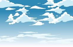 Vector blue sky clouds. Anime clean style. Background design royalty free illustration