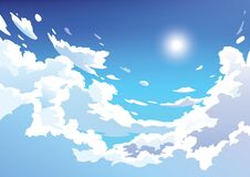 Vector blue sky clouds. Anime clean style.