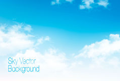 Vector blue sky panorama with transparent clouds. Stock Photos