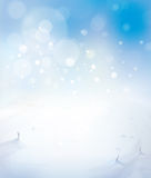 Vector blue sky and snow background. Stock Photo