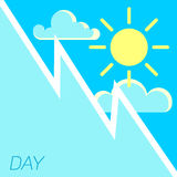 Vector blue sky and sun day concept Stock Photography