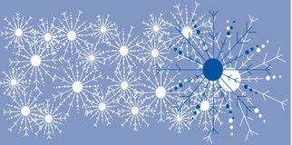 Vector Blue Snow Flake Background. Vector Blue background with white and blue hand drawn snowflakes for use in website wallpaper design, presentation, desktop stock illustration