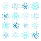 Vector blue snowflake icon set. Collection Snowflakes icons Royalty Free Stock Image