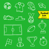 Vector blue soccer icon set on white.  Royalty Free Stock Photography