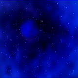 Vector Blue space galaxy background with stardust and bright shining stars. Stock Image