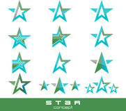 Vector blue star pack collection icons Stock Image