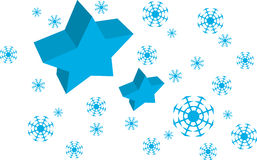 Vector Blue Star and Snow flakes background. Xmas card royalty free illustration