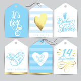 Vector blue sticker set It`s a girl. Calligraphy lettering Baby shower. element for invitation design. Royalty Free Stock Photography