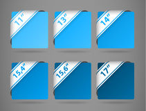 Vector blue symbols indicating the size of display Royalty Free Stock Photo