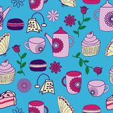 Vector blue Tea Garden Tea Partry seamless pattern background. royalty free illustration