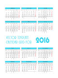 Vector blue template calendar grid for 2016 Royalty Free Stock Photography
