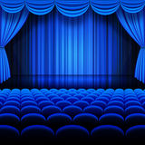 Vector Blue Theater. A vector illustrations of a Theater stage with Blue Full Stage Curtains Royalty Free Stock Photography