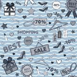 Vector in blue tones pattern on shopping, themed Stock Photos