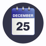 Vector  in blue tones. Sheet Desk calendar blue color on a dark background. Date 25 December. Vector illustration of Christmas icon. Square location Royalty Free Stock Photo