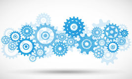 Vector blue transparent gears stock illustration