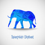 Vector blue triangulate elephant. Royalty Free Stock Photo