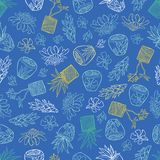 Vector blue tropical pattern with ginger flowers, basket plants and bali style ceramic pots. Perfect for fabric, scrapbooking, royalty free illustration