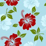 Vector blue tropical summer hawaiian seamless pattern with tropical hibiscus flowers. Vector yellow and red tropical summer hawaiian seamless pattern with Royalty Free Stock Images