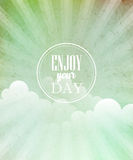Vector blue vintage grungy background with sun Stock Images