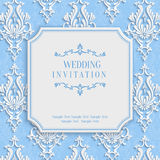 Vector Blue Vintage Invitation Card with 3d Floral Damask Pattern Stock Photography