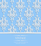 Vector Blue  Vintage Invitation Card with 3d Floral Damask Pattern Royalty Free Stock Photos