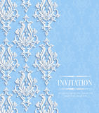 Vector Blue Vintage Invitation Card with Floral Damask Pattern Royalty Free Stock Photography