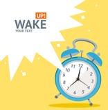 Vector blue wakeup clock card. Flat Design Stock Photo