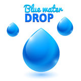 Vector blue water drops Royalty Free Stock Photos