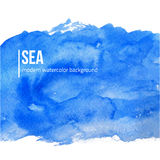 Vector Blue watercolor background, Sea or sky. Creative design for card, web design background, book cover. Stock Photography
