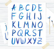 Vector blue watercolor font, handwritten letters. ABC. Highly detailed hand-drawn Alphabet. Watercolour handwritten letters and numbers. ABC Royalty Free Stock Photography