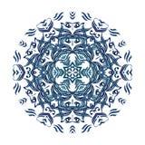 Vector blue watercolor mandala. Abstract stock illustration