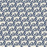 Vector blue wave icons set on light background. Water waves. Ornament of a wave on the surface of the ocean. Curls of the wave. Ornament, clothes, books Stock Images