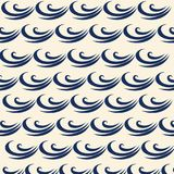 Vector blue wave icons set on light background. Water waves. Ornament of a wave on the surface of the ocean. Curls of the wave. Ornament, clothes, books Stock Photography