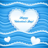 Vector blue wavy Valentine's Day background Royalty Free Stock Photos