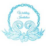 Vector blue wedding invitation. With format eps10 royalty free illustration