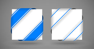 Vector blue and white christmas corner ribbons. With light shadow royalty free illustration