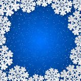 Vector blue winter square frame with paper cut out snowflake decoration. Bright blue winter square frame with paper cut out snowflake decoration. Vector vector illustration