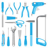 Vector blue working tools collection for construction and repair Stock Image