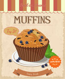 Vector blueberry muffin. Isolated background Stock Photos