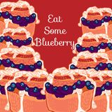 Vector blueberry muffin with jam Royalty Free Stock Images
