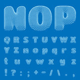 Vector BluePrint Alphabet, Font. Part 2 Royalty Free Stock Images
