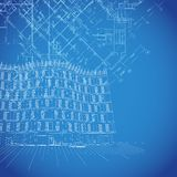 Vector blueprint background with building plans Stock Photo